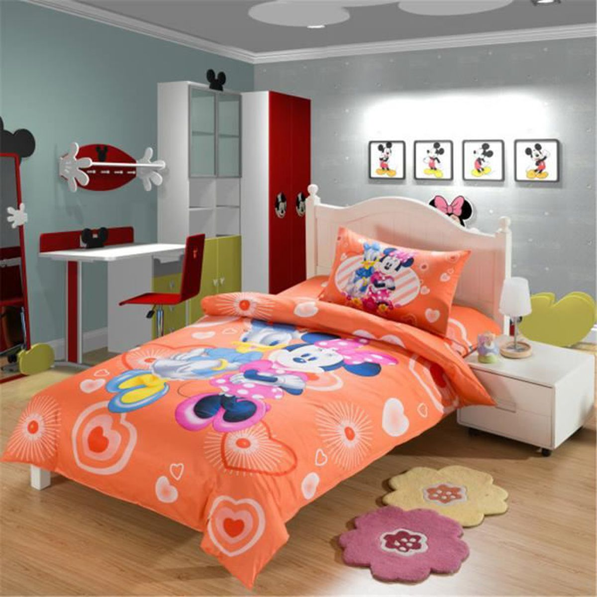 parure de couette parure de lit mickey mouse minnie donald duck enfant 100 coton 1 housse de. Black Bedroom Furniture Sets. Home Design Ideas
