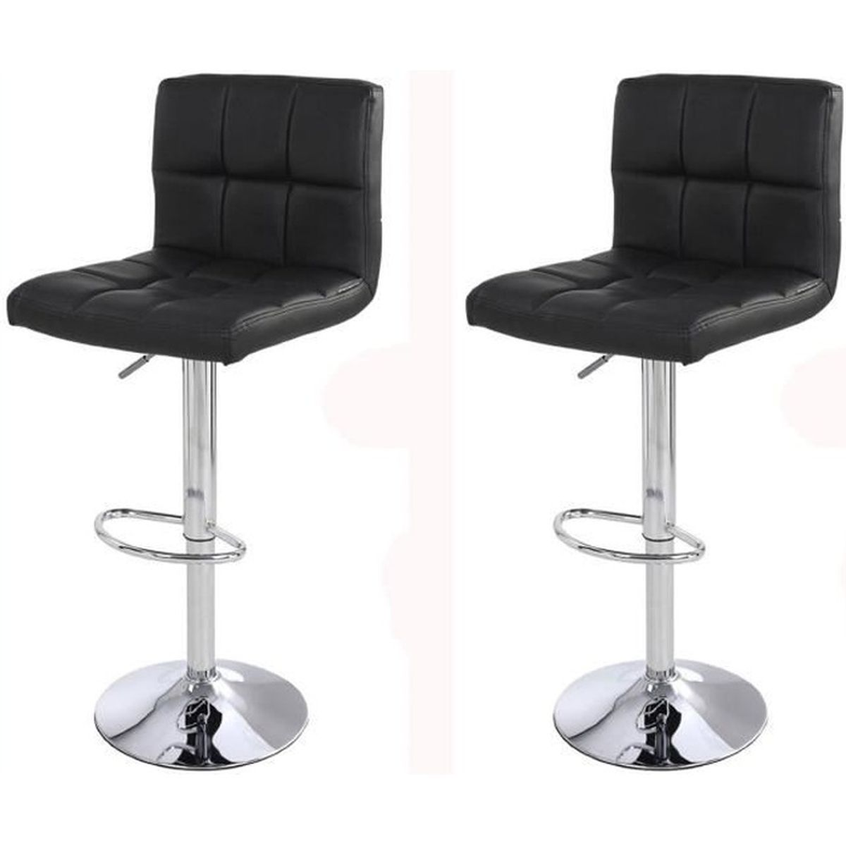 lot de 2 tabourets de bar ilot central cuisine bistrot simili cuir noir 2 brelan noirs achat. Black Bedroom Furniture Sets. Home Design Ideas