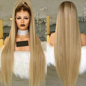 PERRUQUE - POSTICHE Mode féminine perruque avant de dentelle synthétiq