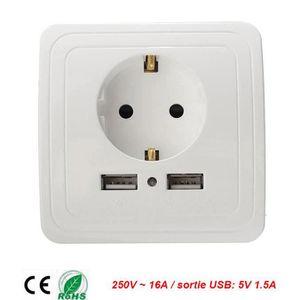 2 Gang 1000 mA prise murale double port USB Outlets plaque panneau Universal Plug sa