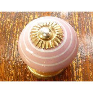 POIGNÉE - BOUTON MEUBLE Boutons en porcelaine trait blanc/rose