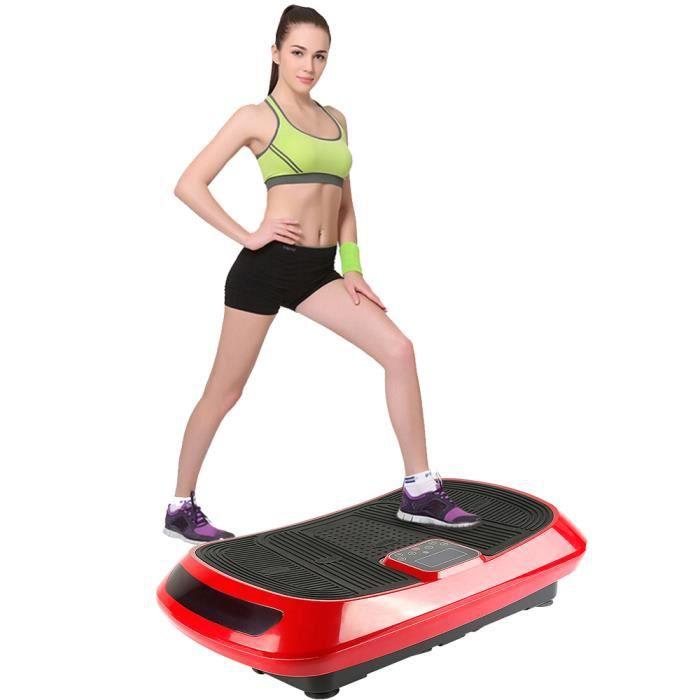 Fitness Plateforme Vibrante et Oscillante 4D Triples Moteurs Silencieux avec 2 Cordes de Traction pour Perte de Poids Rapide