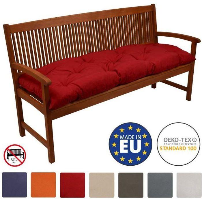 Beautissu Coussin banc Flair BK 100x50x10cm - Rouge - Coussin pour banc de jardin, terrasse, balcon, balancelle