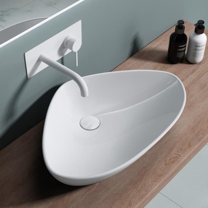 Lavabo vasque à poser évier Bruxelles 215, ovale, blanc, céramique larg x prof x haut 59 x 39,4 x 13,8cm