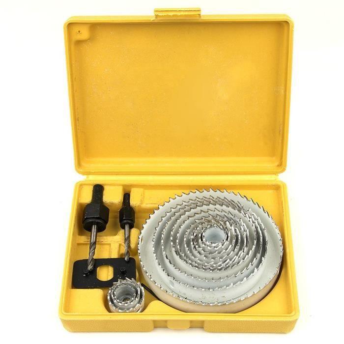 Srol 13 pcs en acier au carbone Scie-cloche kit – Excellent outils de coupe pour bois, plaque de plâtre, plastique et métaux non