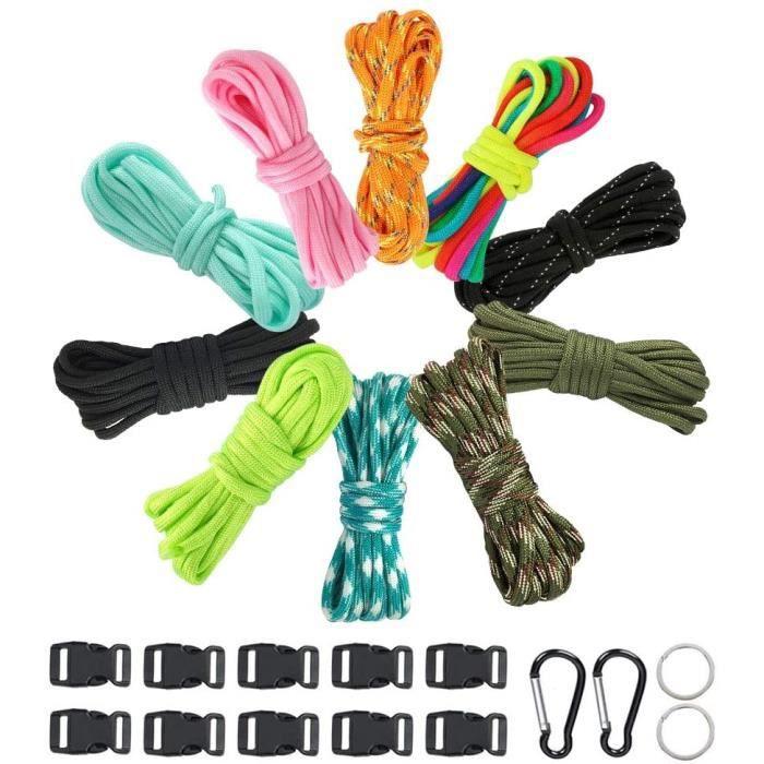 Lot de 10 Bracelets Paracord Kit - 10 Cordes Paracord + 10 Boucles Paracord + 2 Petits Mousquetons + 2 Porte-Clés Paracord