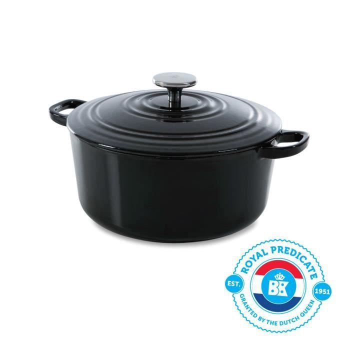 BK Cookware H6071.524 BK Bourgogne Cocotte en Fonte Ronde - 24 cm - 4.2L - Revêtement émaillé - Couvercle avec Anneaux