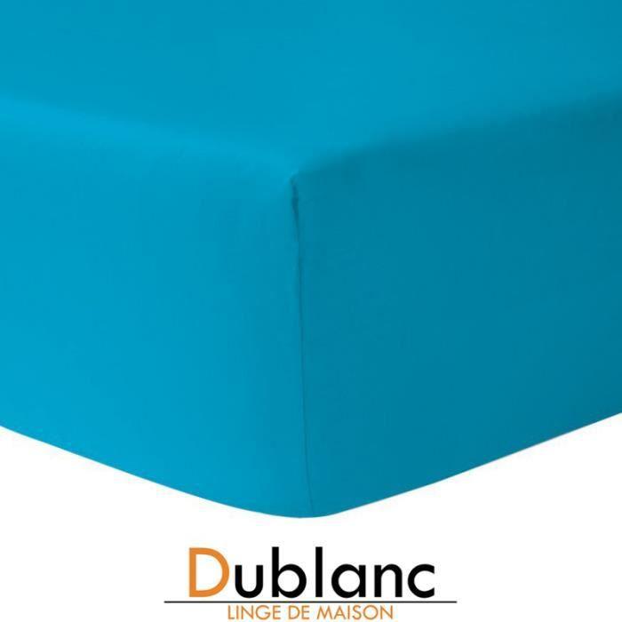 DUBLANC Drap Housse 140x190cm BLEU TURQUOISE.