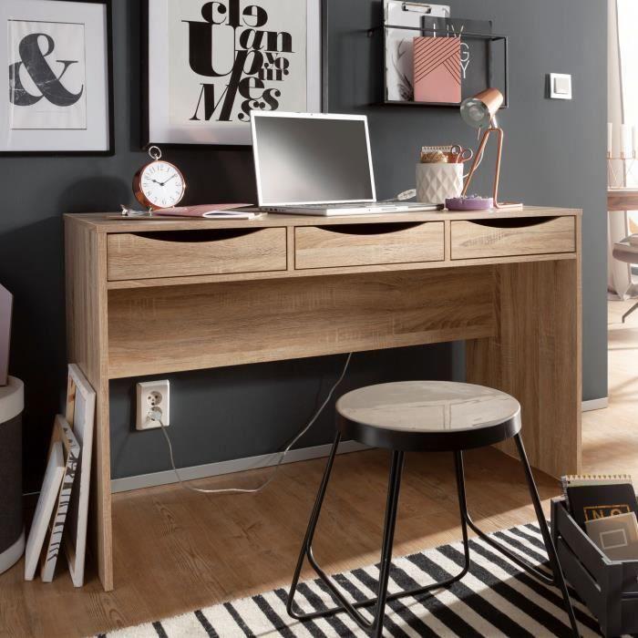 FineBuy bureau 120 cm table de bureau design Sonoma chêne jeunesse bureau