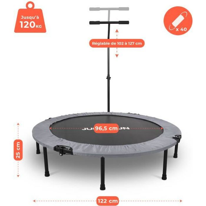 Mini Trampoline Fitness Jump4fun Pliable T-Bar - Ø122cm, Gris