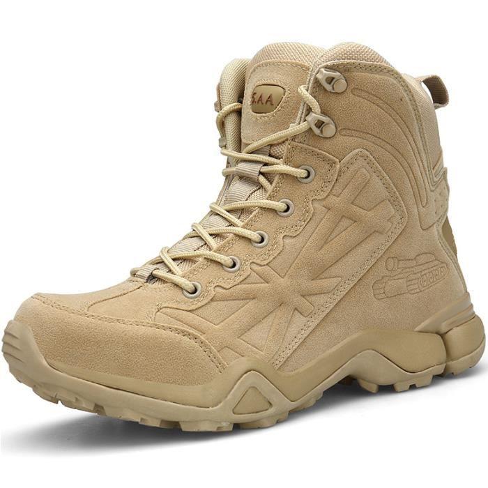 Chaussures Militaires Bottes Bottines Tactiques Hommes Mi-Hautes pour Combat Armée Tactique Randonnée Trekking Montagne