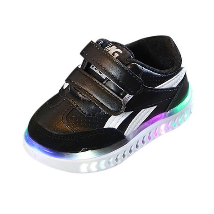 Tonsee® Enfants bébé filles garçons lettre lumière LED lumineuse course Sport Sneaker chaussures PU - Q8 des enfants allumer de