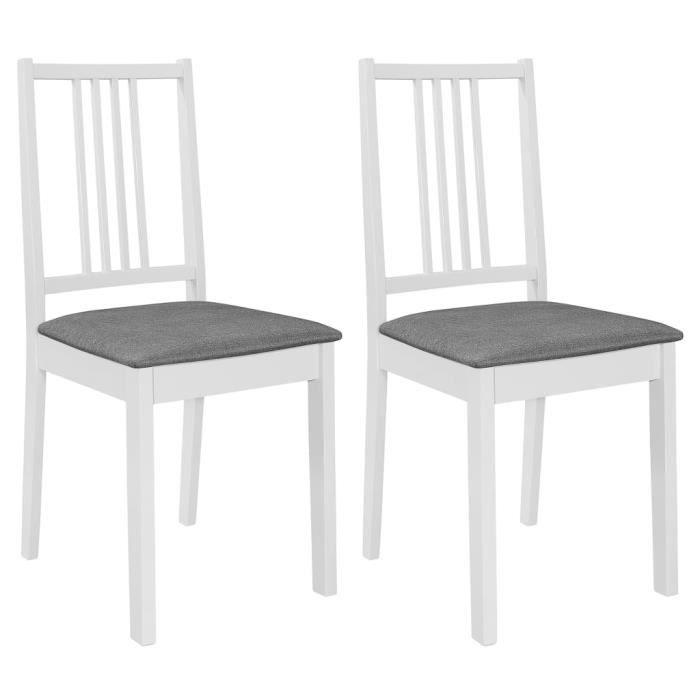 Lot de 2 pcs Chaises à dîner avec coussins Blanc Bois solide