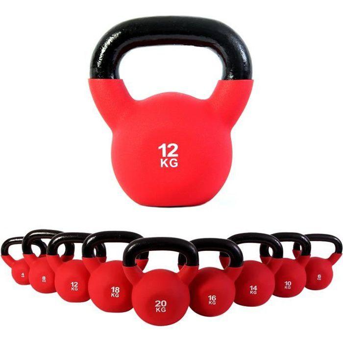 Kettlebell néoprène différents poids + affiche d´entrainement 4 kg à 30 kg (12 kg)