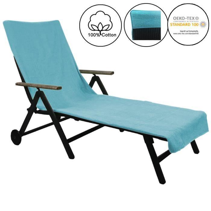 Serviette de plage pour chaise longue de jardin 75 x 200 cm - Housse de bain de soleil antidérapante 100% coton - TURQUOISE