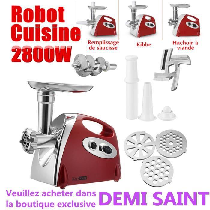 3en1 Hachoir à Viande Electrique 2800W - Saucisse Remplissage Pâté à Viande - Robot Patisserie Cuisine Maison 220V