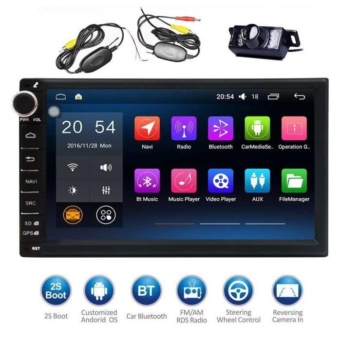 KKmoon 7 Autoradios Multim/édia Universelle 1080p Smart Android 7,1 2 Din Voiture Radio St/ér/éo MP5 MP3 Player GPS Navigation avec Wi-FI BT AM//FM//RDS USB//Micro SD en Miroir T/él/éphone Lien Quadric/œur