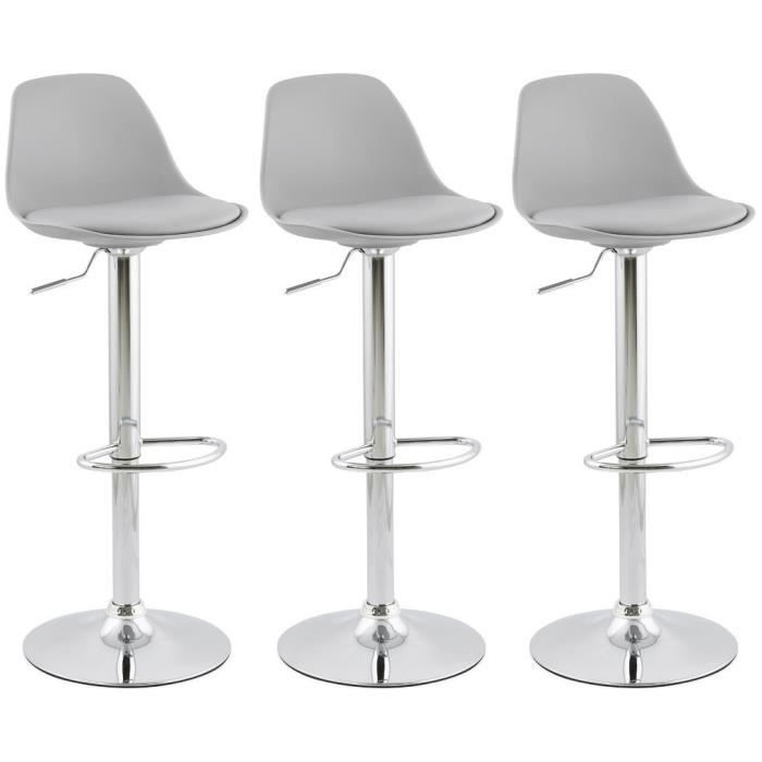 ho lot de 3 tabouret de bar gris avec dossier achat vente tabouret de bar cdiscount. Black Bedroom Furniture Sets. Home Design Ideas