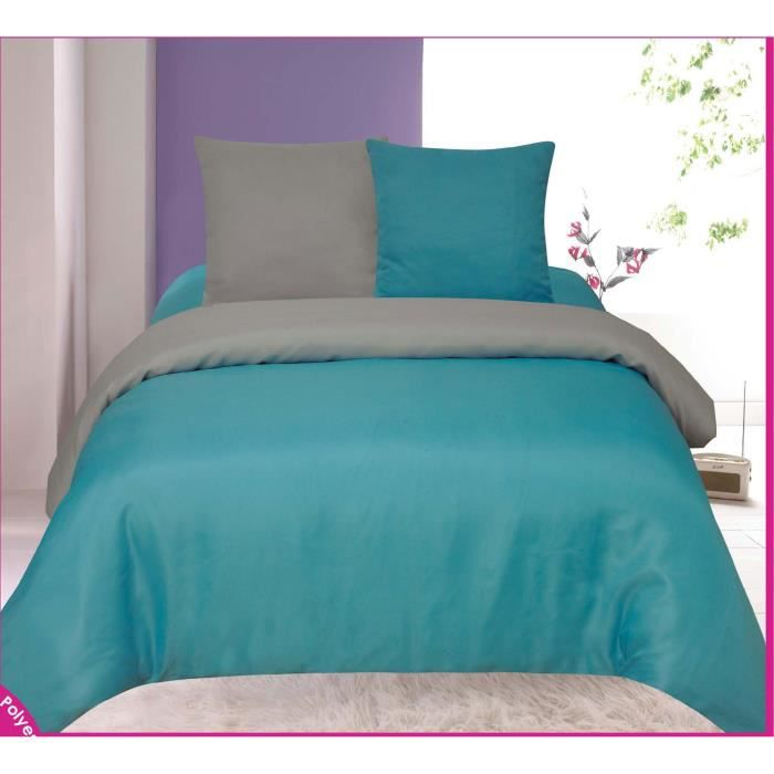 parure de draps turquoise et gris bicolore tendre. Black Bedroom Furniture Sets. Home Design Ideas