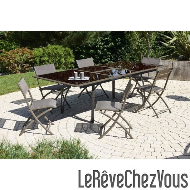 Salon de jardin table 6 chaises aluminium achat for Chaise salon de jardin aluminium