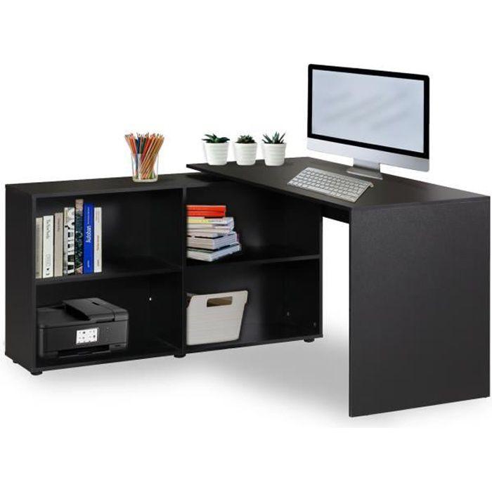 Bureau D Angle Avec Rangement Noir Contemporain Décor Table Informatique Pas Cher 130 60 75 Cm Réversible Avec étagères
