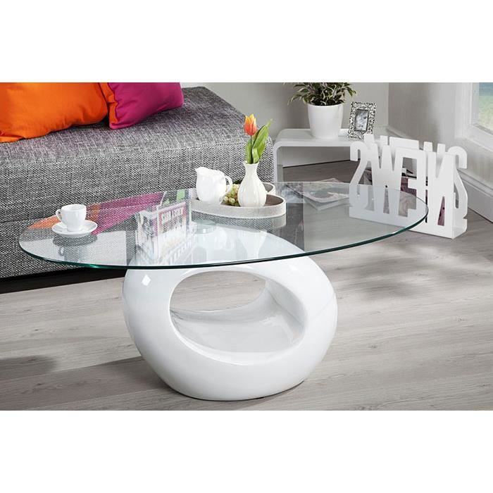 Table basse ovale rondo coloris blanc achat vente - Table de salon ovale ...