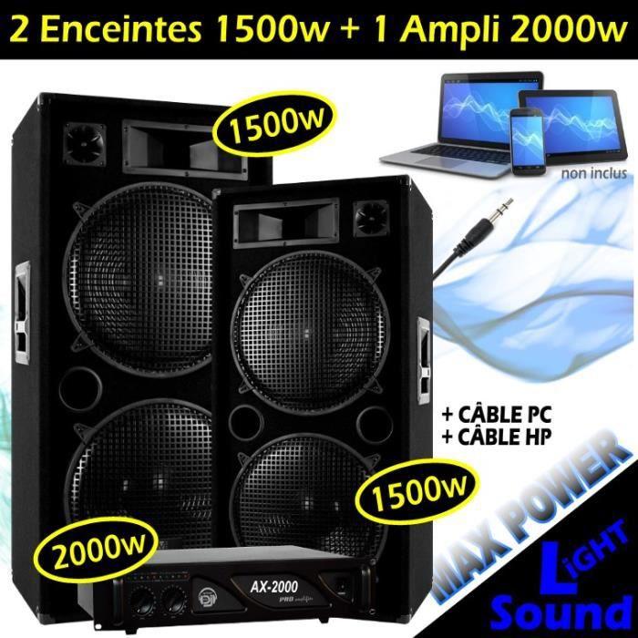 PACK SONO PACK SONO 2 ENCEINTES 2x1500W Max + 1 AMPLI 2000W