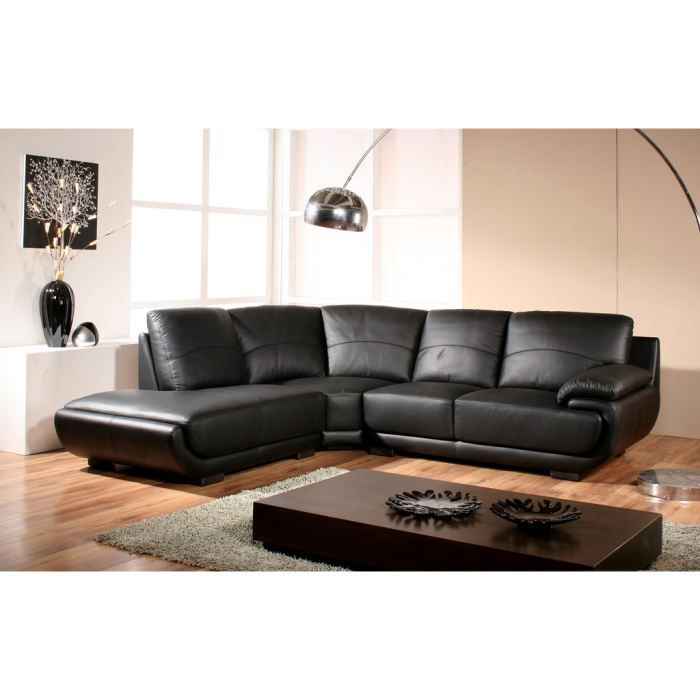 canap design angle droit cuir noir mozart achat vente canap sofa divan cdiscount. Black Bedroom Furniture Sets. Home Design Ideas