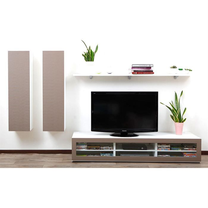 ensemble mural tv design blanc et taupe xalis achat vente meuble tv ensemble mural tv. Black Bedroom Furniture Sets. Home Design Ideas