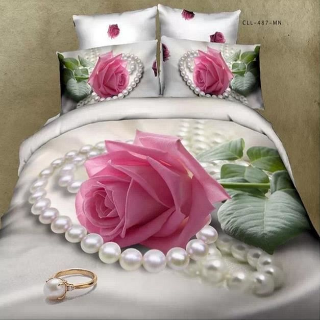 parure de lit 3d effect rose rose et perles 100 coton 200. Black Bedroom Furniture Sets. Home Design Ideas