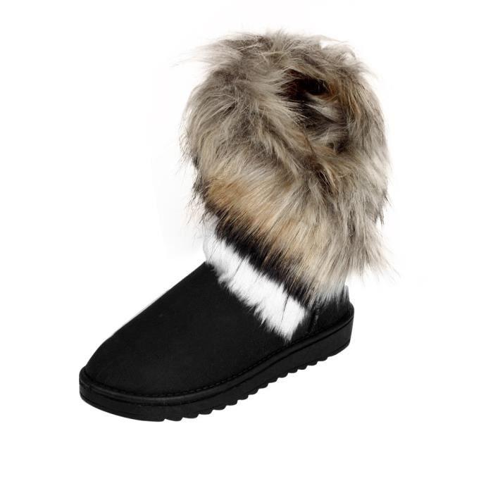 Amyamyi Chaussures neige de Bottes d'hiver WONG7918 Mode Fur plates femme Bottines Lined CxrdBoe