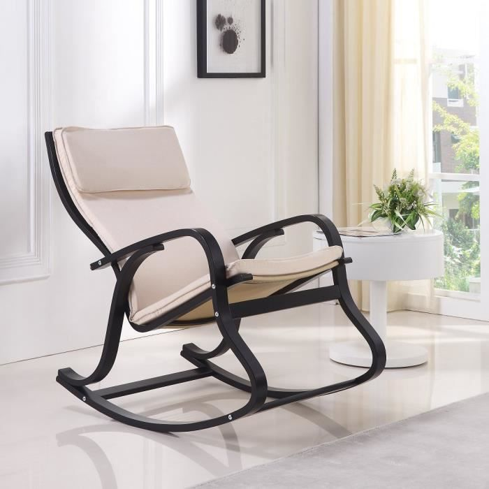 fauteuil chaise bascule design noir blanc achat vente fauteuil noir cdiscount. Black Bedroom Furniture Sets. Home Design Ideas