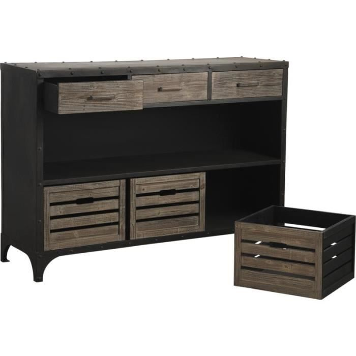 console en m tal et bois avec 3 tiroirs dimens achat. Black Bedroom Furniture Sets. Home Design Ideas