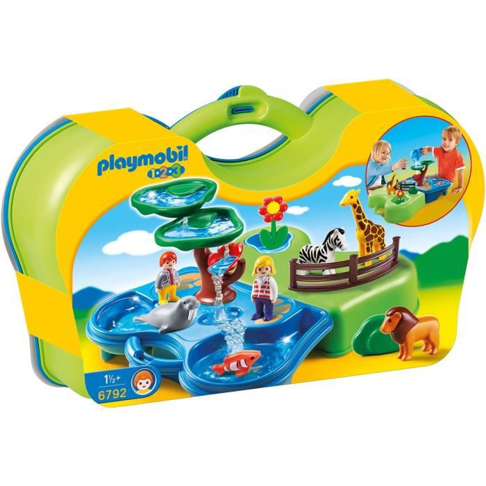 Playmobil 1 2 3 6792 zoo transportable et bassin achat for Piscine de playmobil