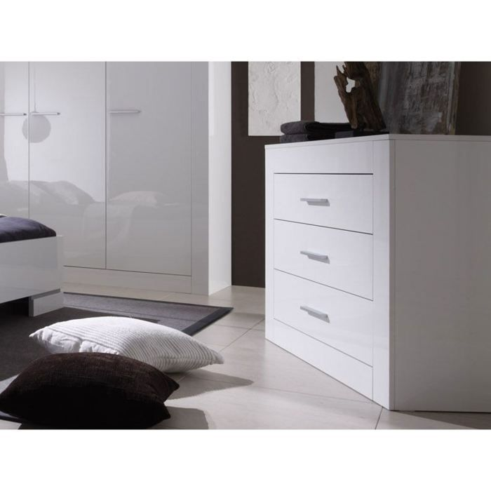 commode adulte moderne 3 tiroirs laqu e blanche achat vente commode semainier commode. Black Bedroom Furniture Sets. Home Design Ideas