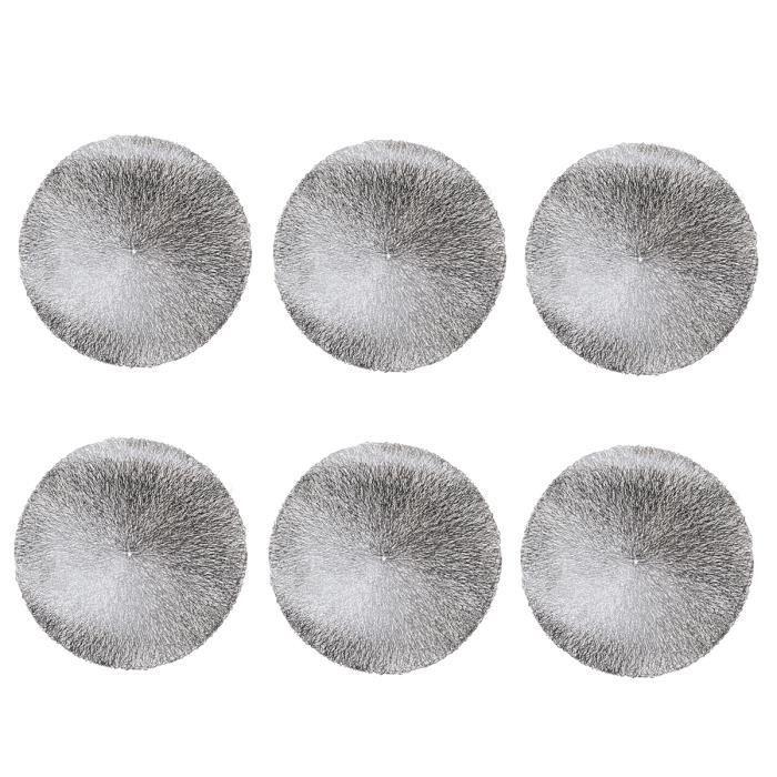 Ruosaren Lot de 6 Sets de Table Ronds antid/érapants et lavables Argent/é