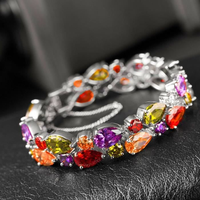 Womens Austrian Crystal Bracelet And Earrings Roseate Noble Jewelry 18k Gold Plated VR19C