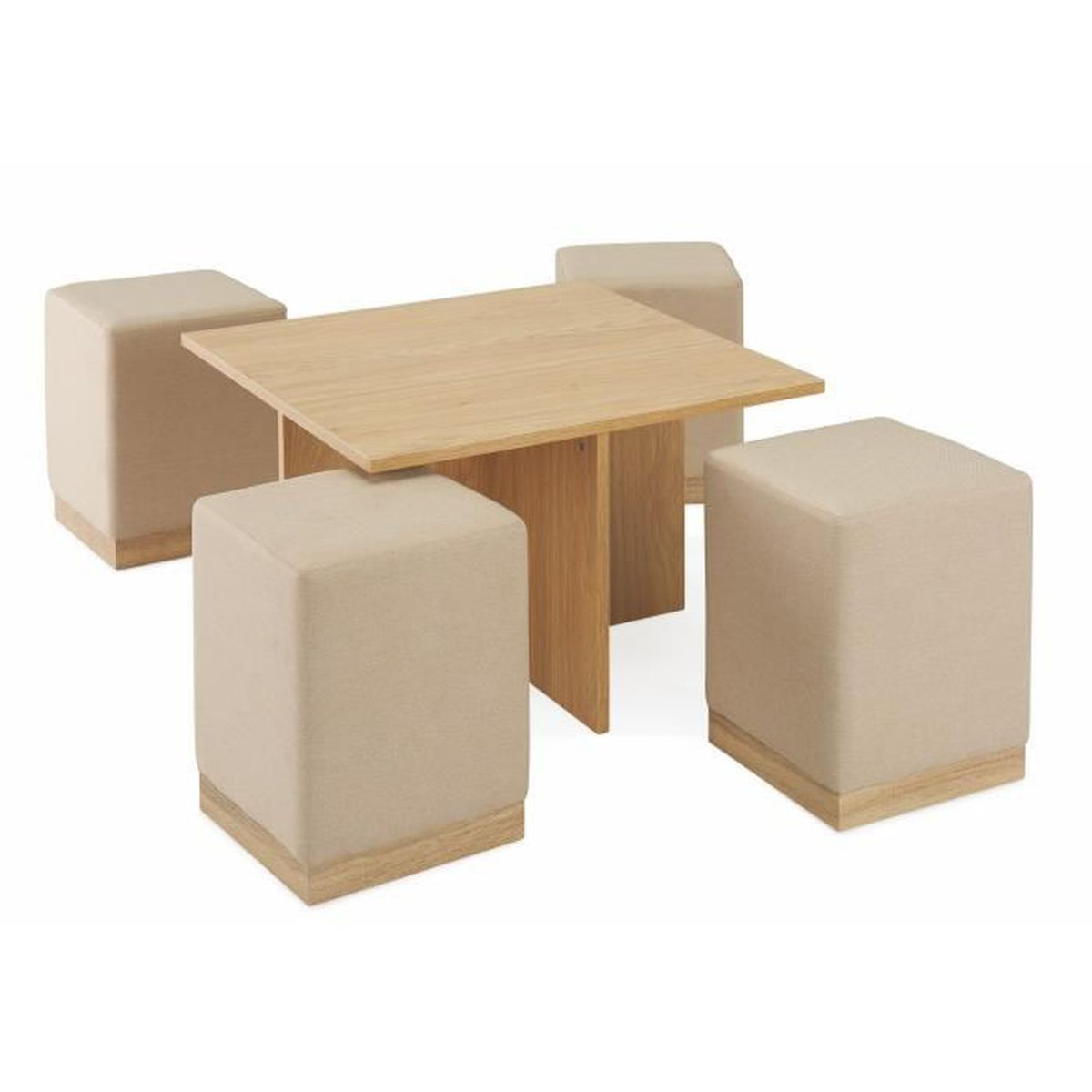 TABLE BASSE CARRÉE + 4 POUFS ENCASTRABLE LYZ - Achat / Vente table ...