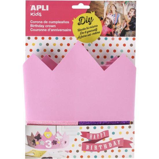 Apli Kids 14479/Couronne danniversaire Rose en Mousse EVA Compatible avec Tous Les Taille Unique