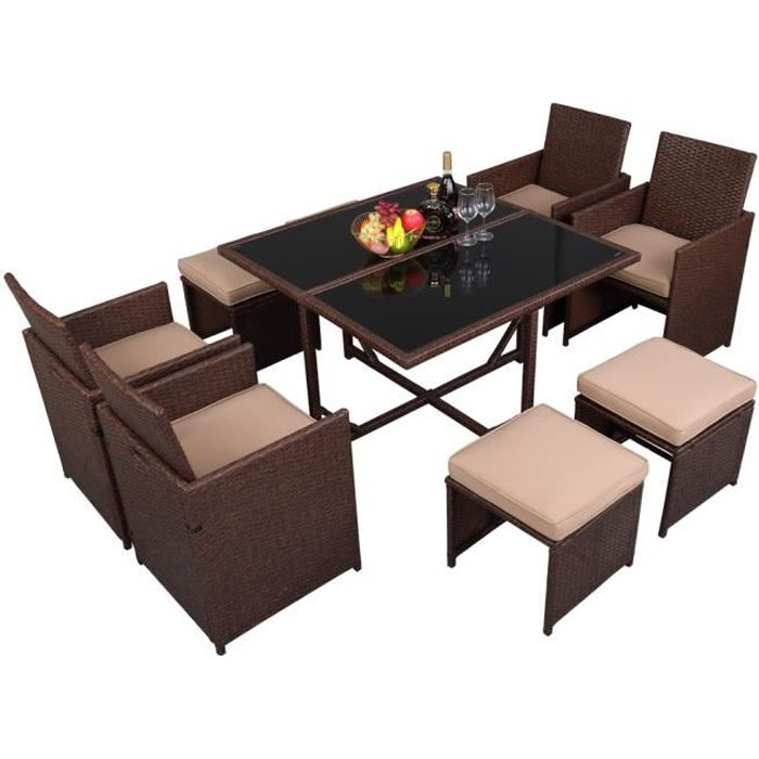 Salon de jardin encastrable 1 table et 8 fauteuils en résine tressée - Plateau verre