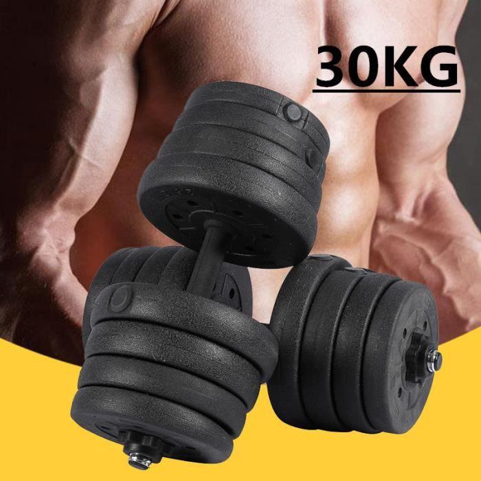 2X Jeu d'haltères haltères Biceps Triceps de musculation d'entraînement libre 30KG
