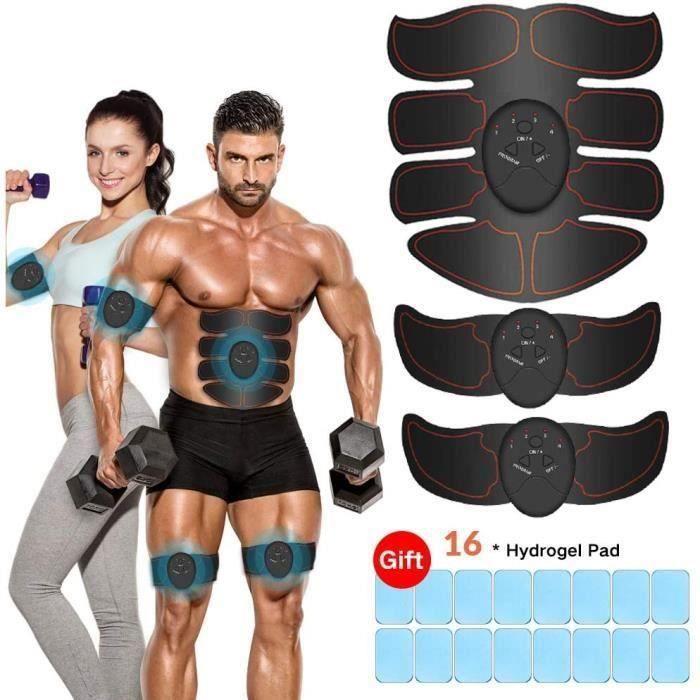Electrostimulateur Musculaire Entraînement Abdominal/Cuisse/Bras Muscle EMS Forme d'exercice Fitness Noir