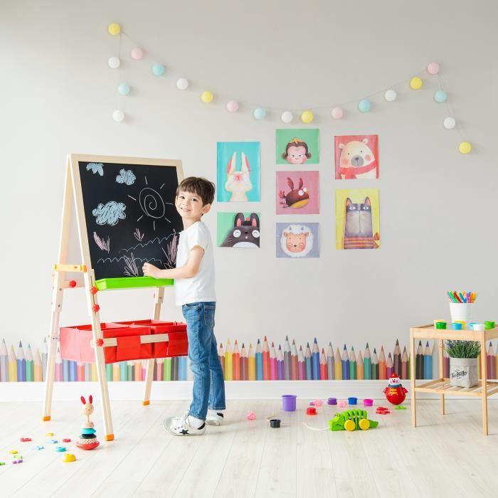 Tableau évolutif chevalet enfant en bois multifonction 3 en 1 avec rangement rouge fille garçon mixte Teamson Kids TK-FB028R