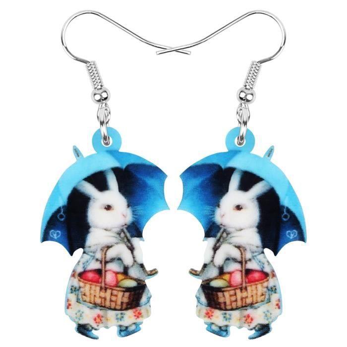Acrylique Lapin De Pâques Lapin Lièvre Boucles D'oreilles Animal Drop Dangle Pour Femmes Adolescents _Bleu