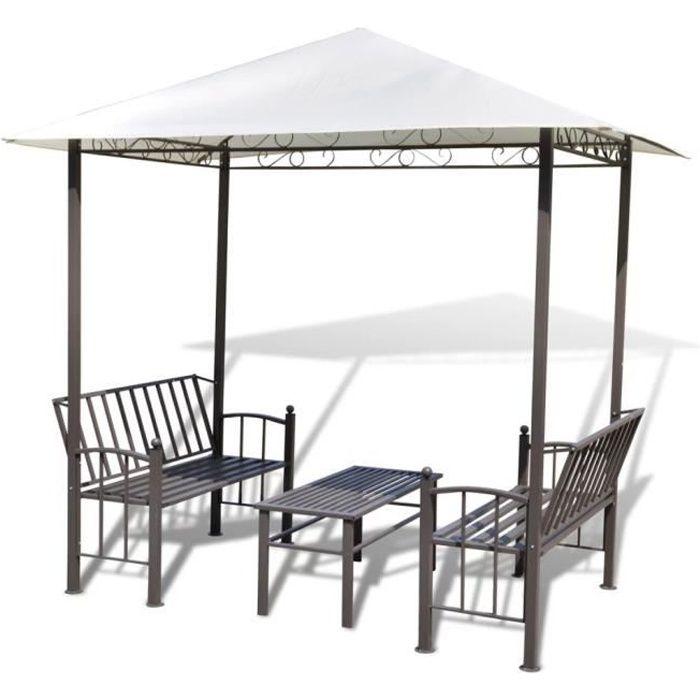 Tente Tonnelle avec bancs et table en metal effet fer forgé - Pavillion de Jardin - Blanc - exterieur mobilier Gloriette