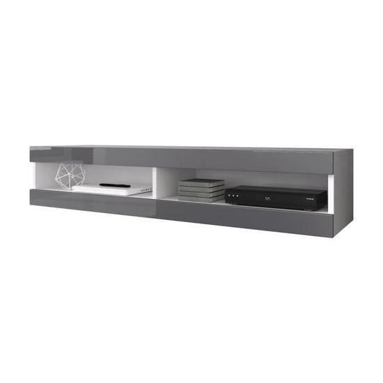 Meuble tv suspendu blanc mat et gris laqué 150 cm