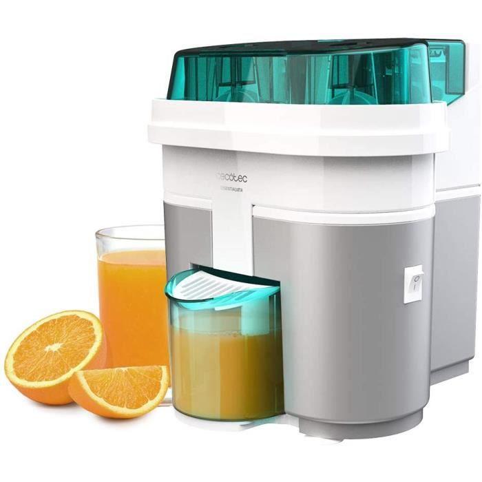 Cecotec Presse-agrumes électrique EssentialVita Twice White. 90 W, double tête et coupeur, filtre pour pulpe, verre 500 ml, pièces l
