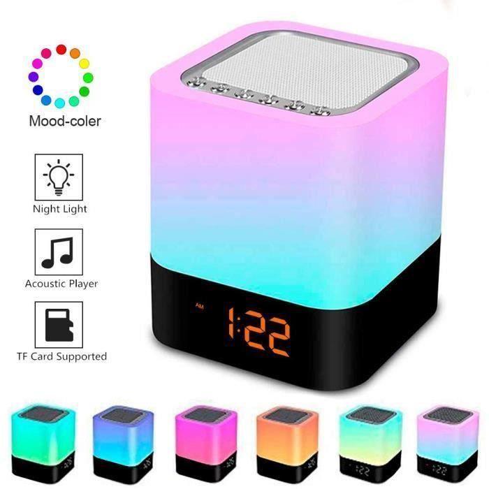 Enceintes bluetooth Réveil Touch Lampe LED lecteur MP3 - radio et éclairage d'ambiance An19333