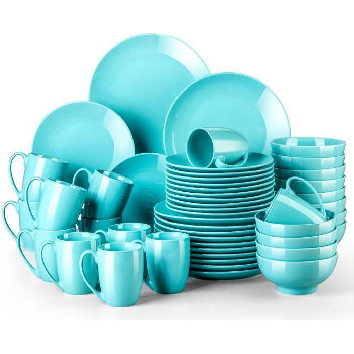 LOVECASA Service de Table en Porcelaine, Série Sweet, Vaiselle Complet 48 Pièces pour 12 Perssone - Bleu Clair