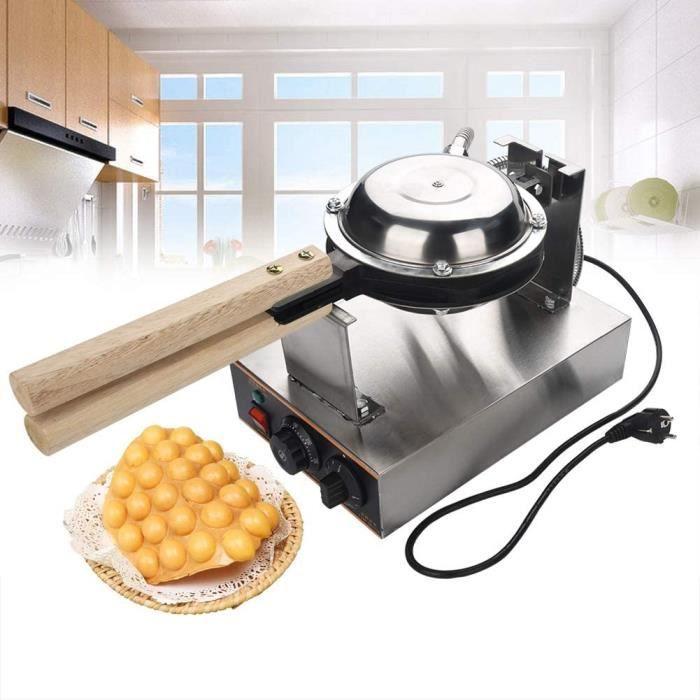 GAUFRIER 220V Gaufrier Bubble Waffle Professionnel Electrique en Acier Inoxydable Revecirctement Antiadheacutesif Moule agrave P181